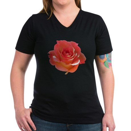 Rose Cup Women's V-Neck Dark T-Shirt