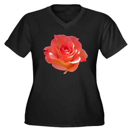 Rose Cup Women's Plus Size V-Neck Dark T-Shirt