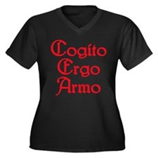 Cogito Ergo Armo (red) Women's Plus Size V-Neck Da