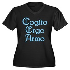 Cogito Ergo Armo (blue) Women's Plus Size V-Neck D