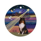 Christmas Star and Sheltie Ornament (Round)