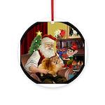 Santa's Pomeranian Ornament (Round)