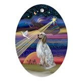 Christmas Star and English Setter Oval Ornament