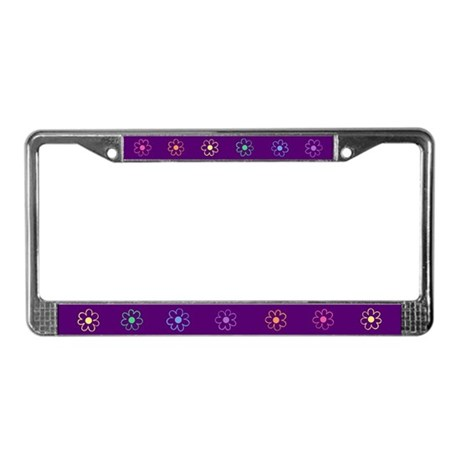 Cute Purple and Flowers License Plate Frame