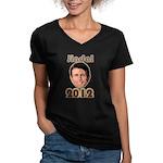 Bobby Jindal 2012 Women's V-Neck Dark T-Shirt