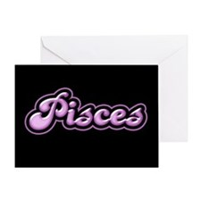 Retro Zodiac Pisces Greeting Card