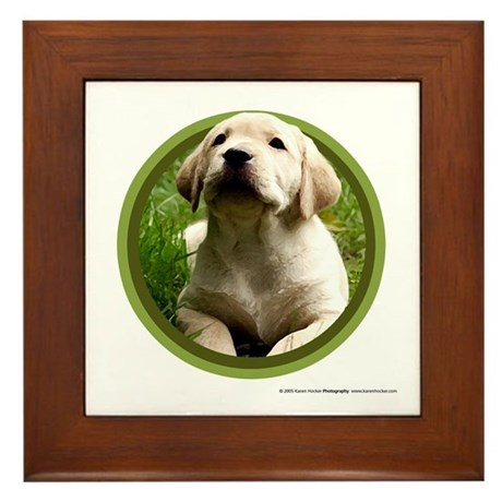 Yellow Lab Puppy Framed Tile