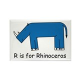 R is for Rhino Rectangle Magnet (10 pack)