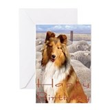 Shelty with Sheep Greeting Card