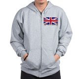 Flag of UK (labeled) Zipped Hoody