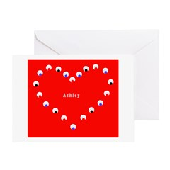 Ashley Valentine's Heart Greeting Card (Red &