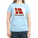 Waving Flag With Denmark Women's Pink T-Shirt