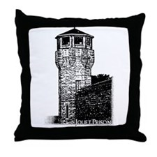 Joliet Prison B&W Throw Pillow