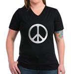 White CND logo Women's V-Neck Dark T-Shirt