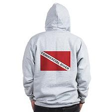 Commercial Diver... (design on back) Zip Hoodie