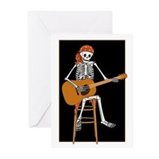 Folk Singer Skeleton Greeting Cards (Pk of 20)