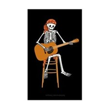 Folk Singer Skeleton Rectangle Decal