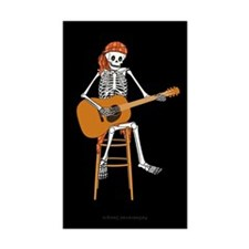Folk Singer Skeleton Rectangle Sticker 50 pk)