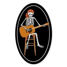Folk Singer Skeleton Oval Decal