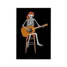 Folk Singer Skeleton Rectangle Magnet (10 pack)