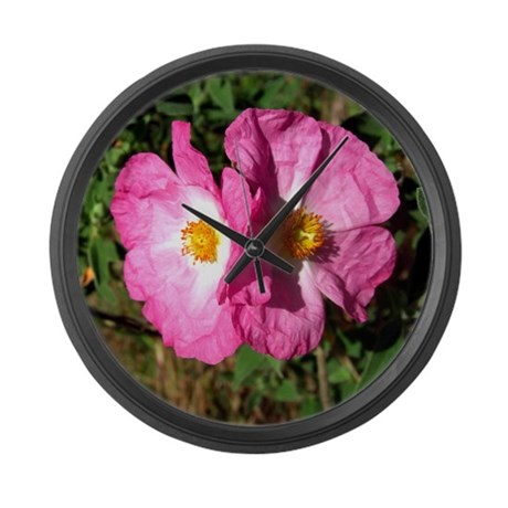 Two Pink Flowers Large Wall Clock