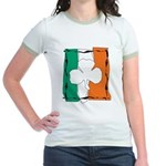 Irish White Shamrock Flag Jr. Ringer T-Shirt