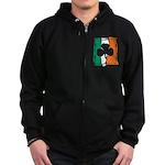 Irish White Shamrock Flag Zip Hoodie (dark)