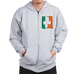 Irish White Shamrock Flag Zip Hoodie