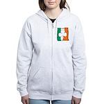 Irish White Shamrock Flag Women's Zip Hoodie