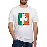 Irish White Shamrock Flag Fitted T-Shirt