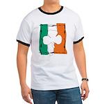 Irish White Shamrock Flag Ringer T