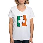 Irish White Shamrock Flag Women's V-Neck T-Shirt