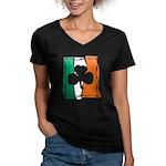Irish White Shamrock Flag Women's V-Neck Dark T-Sh
