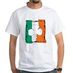 Irish White Shamrock Flag White T-Shirt