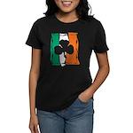 Irish White Shamrock Flag Women's Dark T-Shirt