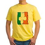 Irish White Shamrock Flag Yellow T-Shirt