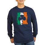 Irish White Shamrock Flag Long Sleeve Dark T-Shirt