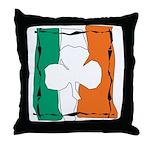 Irish White Shamrock Flag Throw Pillow