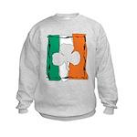 Irish White Shamrock Flag Kids Sweatshirt