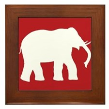 Red Elephant Framed Tile