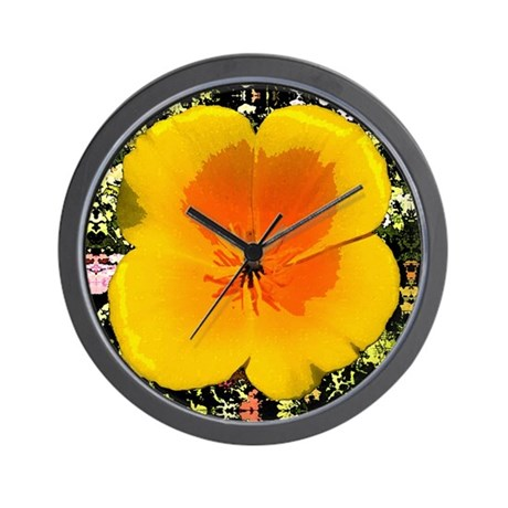 Painted Poppy Wall Clock