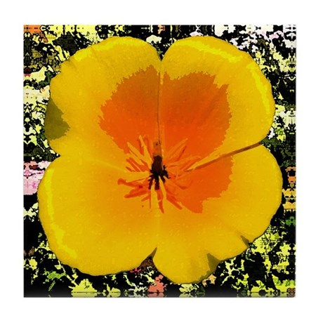 Painted Poppy Tile Coaster