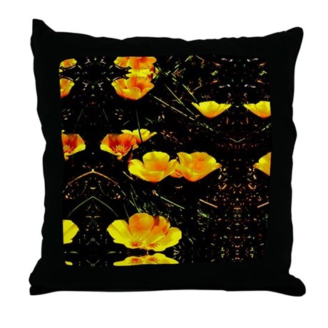 Poppies in a Row Throw Pillow