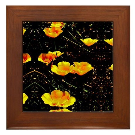 Poppies in a Row Framed Tile