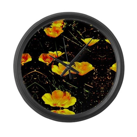 Poppies in a Row Large Wall Clock