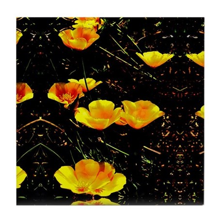 Poppies in a Row Tile Coaster