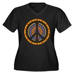 CND Psychedelic3 Women's Plus Size V-Neck Dark T-S