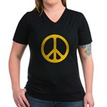Yellow CND logo Women's V-Neck Dark T-Shirt
