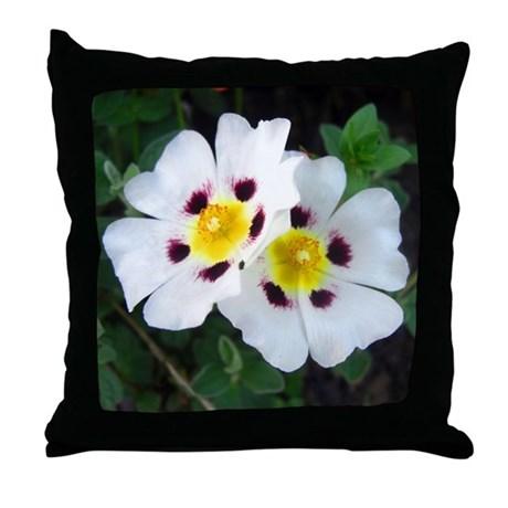 Two White Flowers Throw Pillow