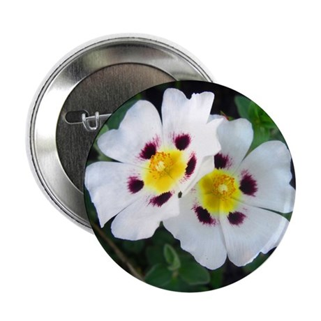 "Two White Flowers 2.25"" Button"